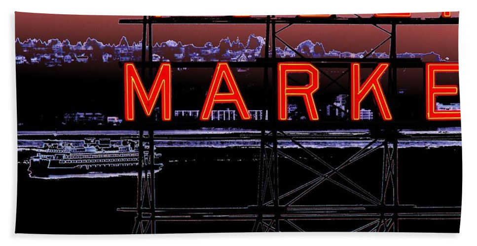 Seattle Bath Sheet featuring the digital art Market Ferry 2 by Tim Allen