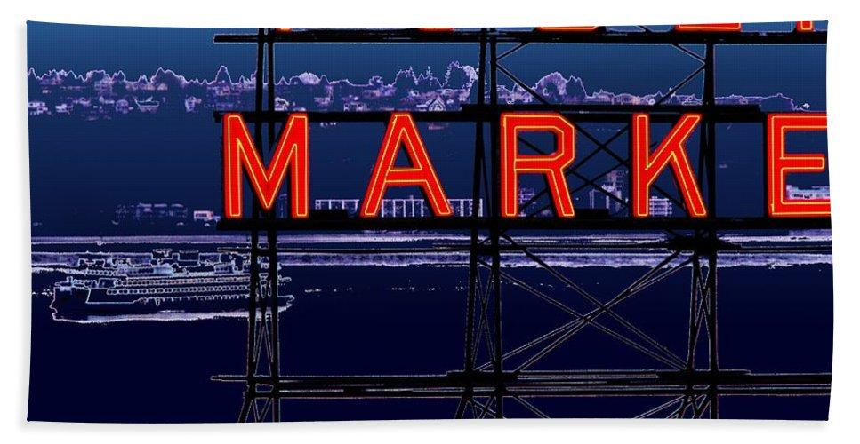 Seattle Bath Sheet featuring the digital art Market Ferry by Tim Allen