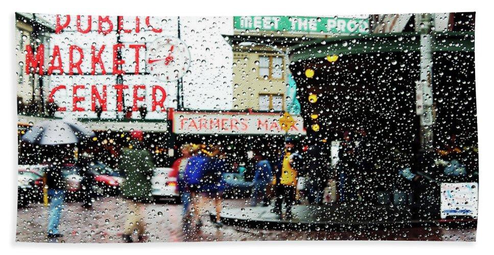 Seattle Bath Sheet featuring the photograph Market In Rain J005 by Yoshiki Nakamura