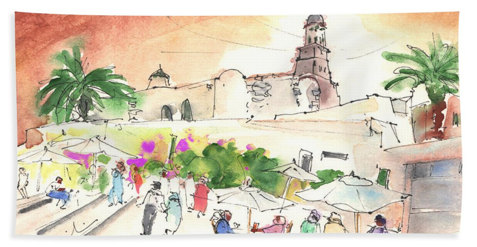 Travel Hand Towel featuring the painting Market In Teguise In Lanzarote 02 by Miki De Goodaboom