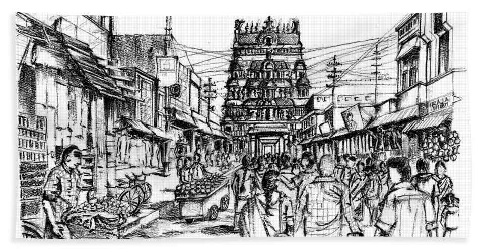 India Bath Sheet featuring the drawing Market Place - Urban Life Outside Temple India by Aparna Raghunathan