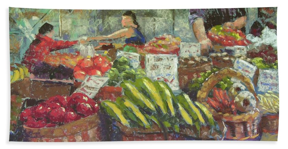 Pike Place Market Hand Towel featuring the painting Market Stacker by Mary McInnis