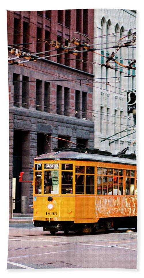 I Love Sf Bath Towel featuring the photograph Market Streetcar - San Francisco by Melanie Alexandra Price