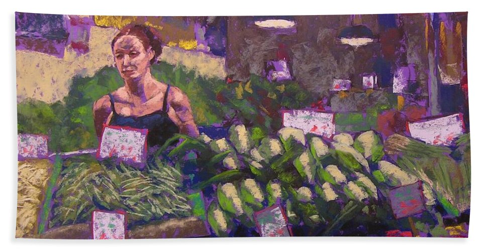 Pike Place Market Bath Towel featuring the painting Market Veggie Vendor by Mary McInnis