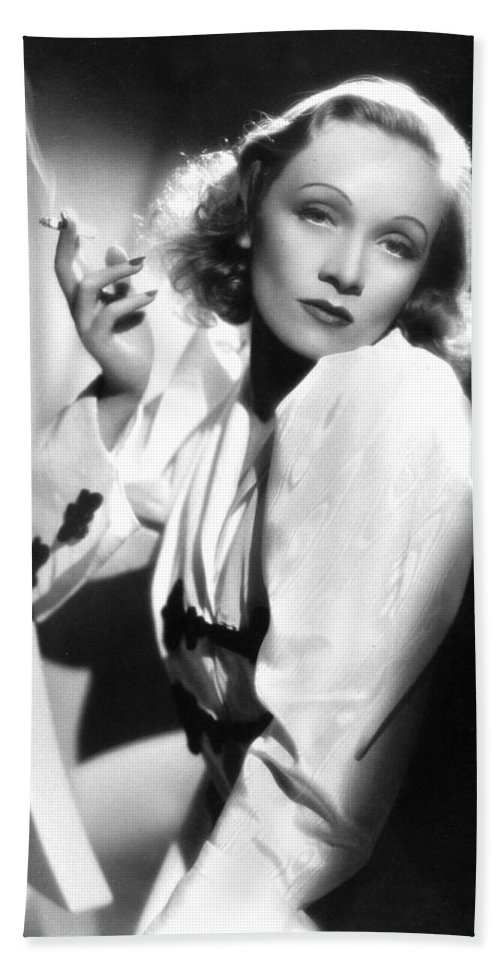 Marlene Dietrich Bath Sheet featuring the photograph Marlene Dietrich by American School