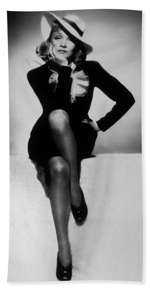 Marlene Dietrich Bath Sheet featuring the photograph Marlene Dietrich by Unknown