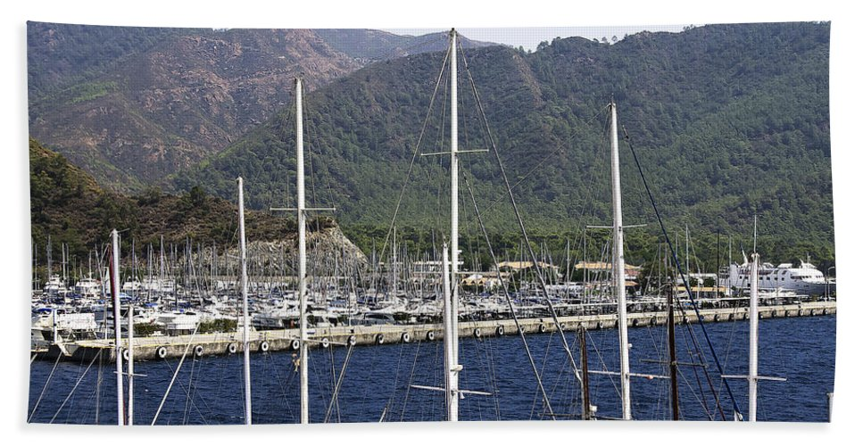 Boat Hand Towel featuring the photograph Marmaris Port by Svetlana Sewell