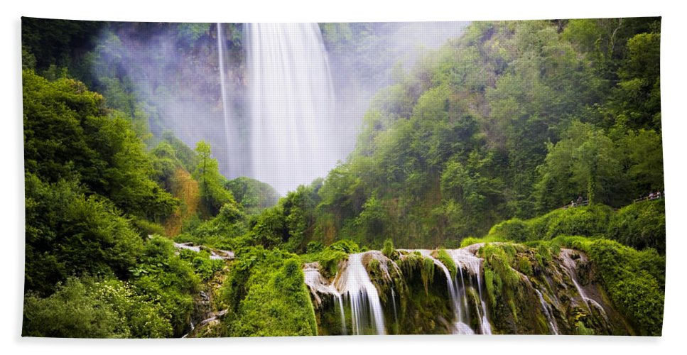 Italy Hand Towel featuring the photograph Marmore Waterfalls Italy by Marilyn Hunt