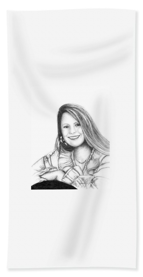 Portrait Bath Sheet featuring the drawing Marnee by Jennifer Campbell Brewer