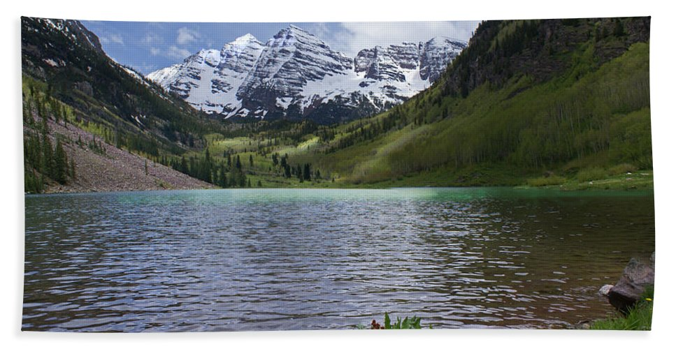 Aspen Hand Towel featuring the photograph Maroon Bells Spring by Heather Coen
