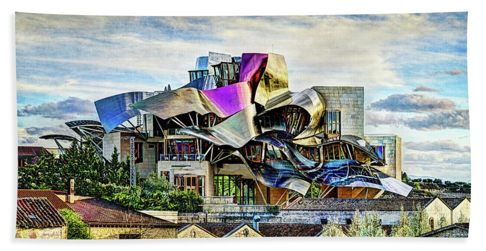 Riscal Hand Towel featuring the photograph marques de riscal Hotel at sunset - frank gehry - vintage version by Weston Westmoreland