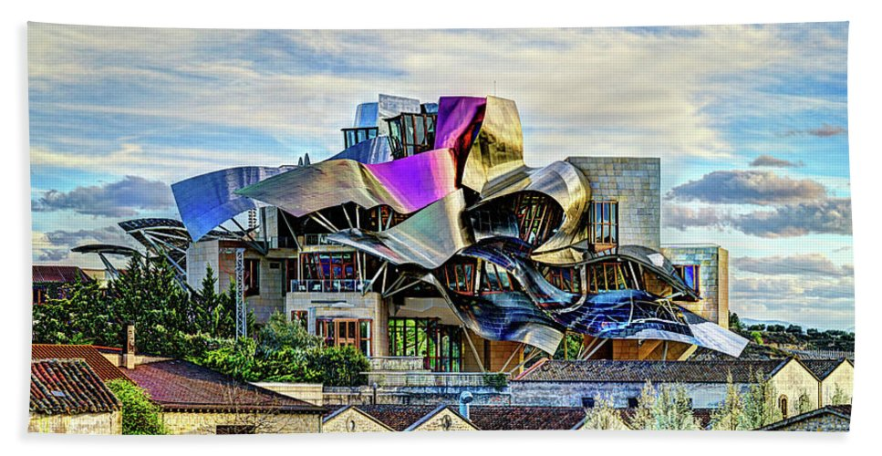 Riscal Hand Towel featuring the photograph marques de riscal Hotel at sunset - frank gehry by Weston Westmoreland