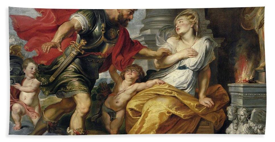 Peter Paul Rubens Hand Towel featuring the painting Mars And Rhea Silvia by Peter Paul Rubens