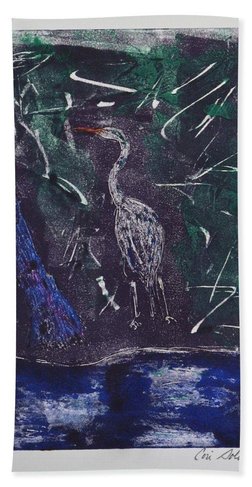 Monotype Hand Towel featuring the mixed media Marsh Magic by Cori Solomon