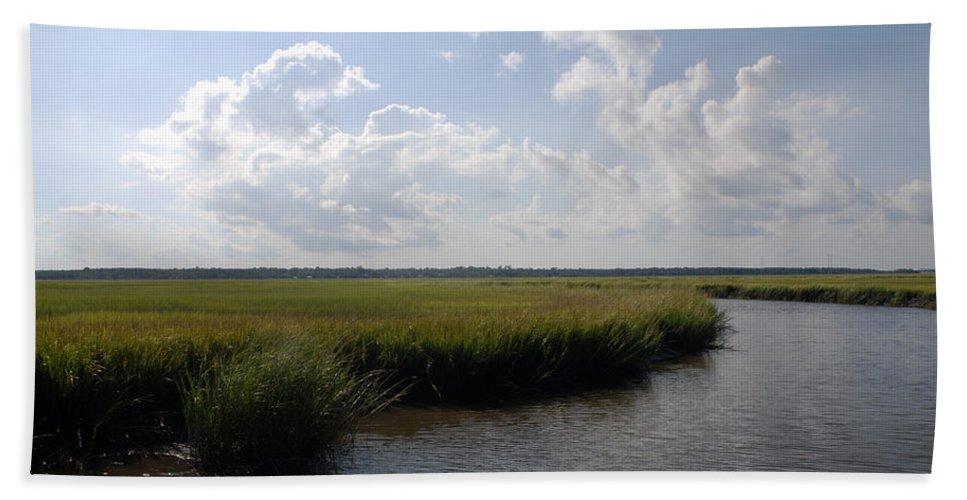 Photography Bath Sheet featuring the photograph Marsh Scene Charleston Sc II by Susanne Van Hulst