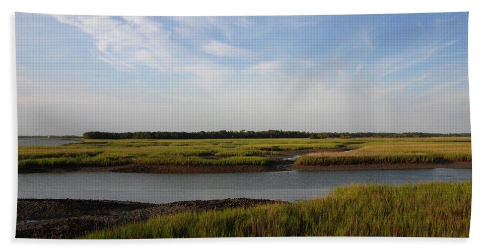 Photography Bath Towel featuring the photograph Marsh Scene Charleston Sc by Susanne Van Hulst