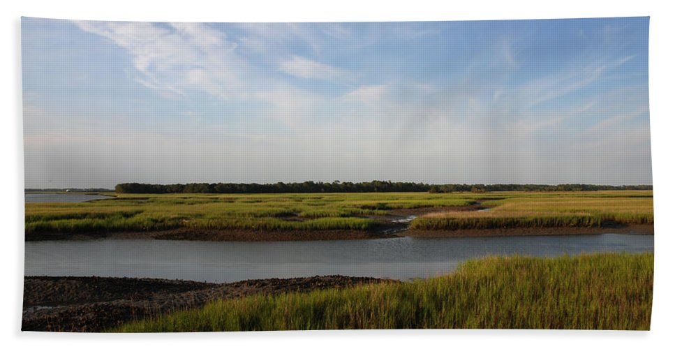 Photography Hand Towel featuring the photograph Marsh Scene Charleston Sc by Susanne Van Hulst
