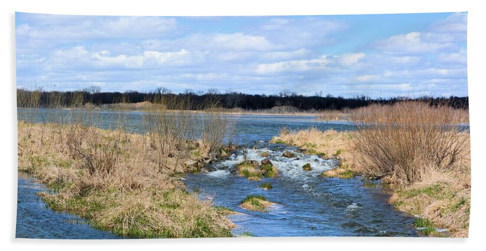 Marsh Hand Towel featuring the photograph Marsh Spill Way by Bonfire Photography