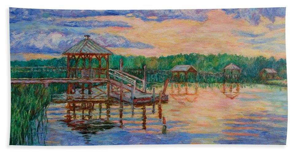 Landscape Hand Towel featuring the painting Marsh View At Pawleys Island by Kendall Kessler