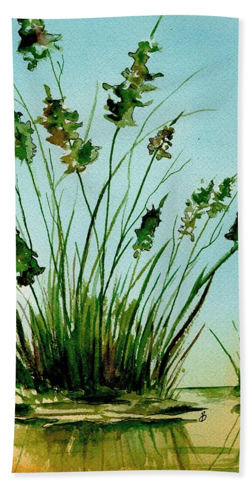 Landscape Hand Towel featuring the painting Marsh Weeds by Brenda Owen
