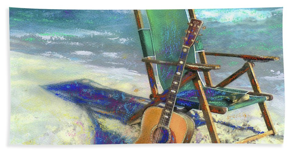 Guitar Bath Sheet featuring the painting Martin Goes To The Beach by Andrew King