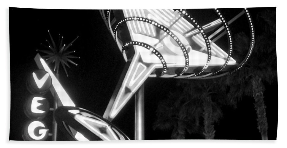 Martini Bath Towel featuring the photograph Martini Sign In Vegas B-w by Anita Burgermeister