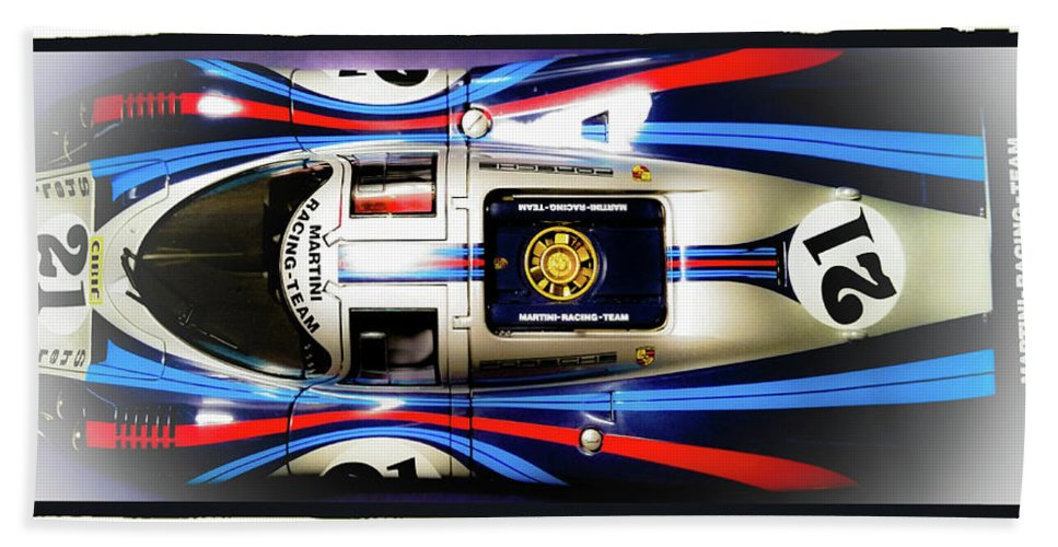 Diecast Martini Porsche 917 Racing Car Hand Towel featuring the photograph Martini Time 4 by D G Reiter