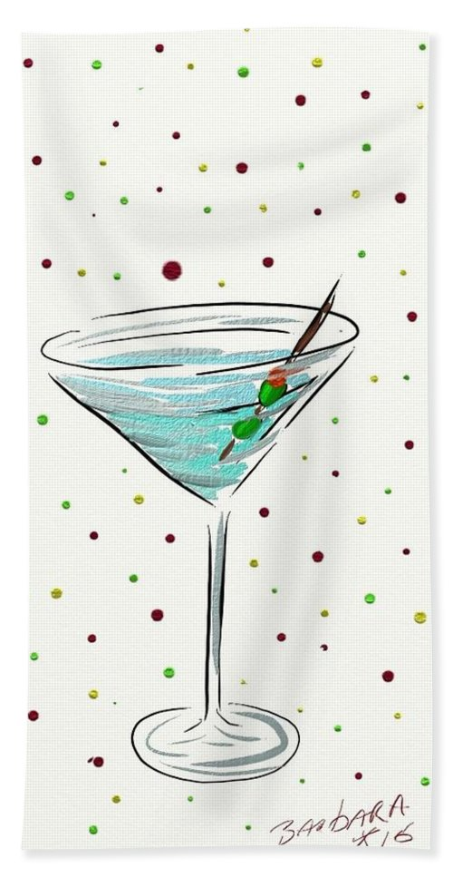 Martini Hand Towel featuring the painting Martini Time by Barbara Stanley