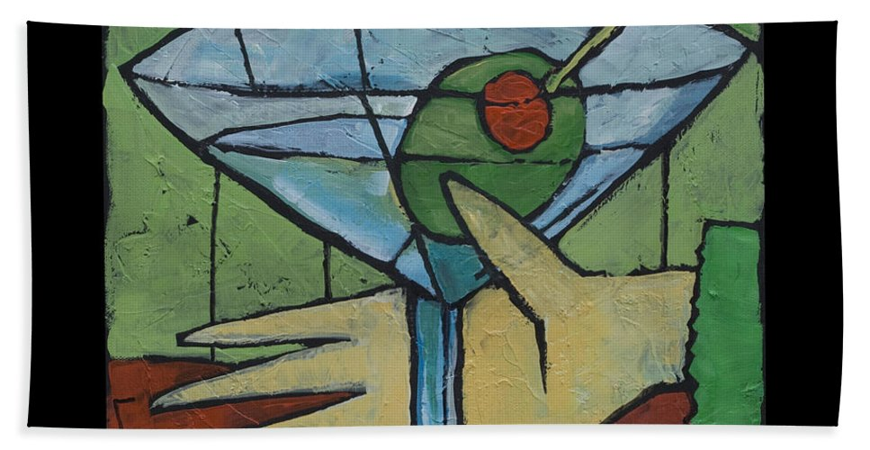 Martini Hand Towel featuring the painting Martini Time - Within Reach by Tim Nyberg
