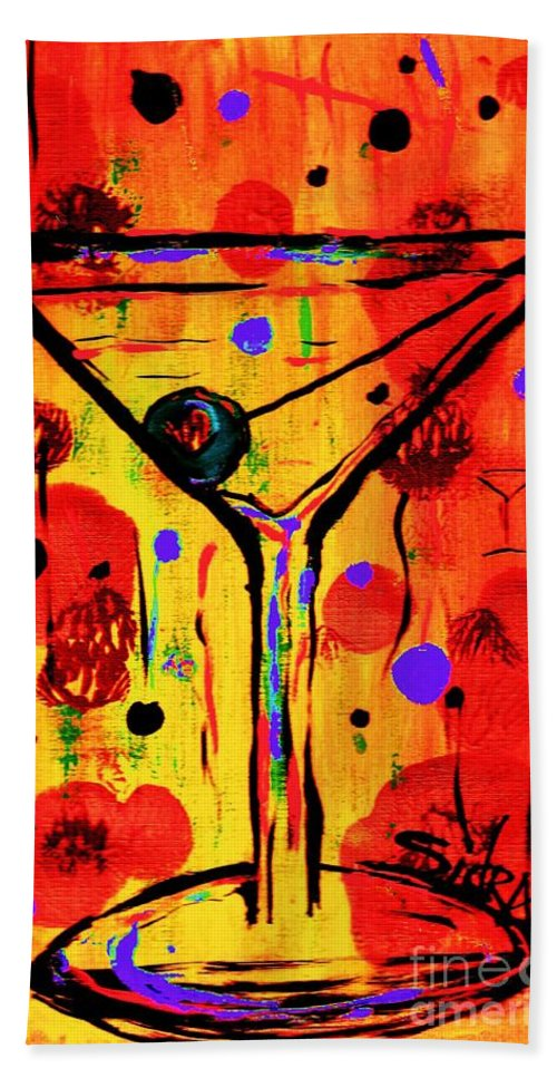 Martini Hand Towel featuring the painting Martini Twentyfive Of Sidzart Pop Art Collection by Sidra Myers