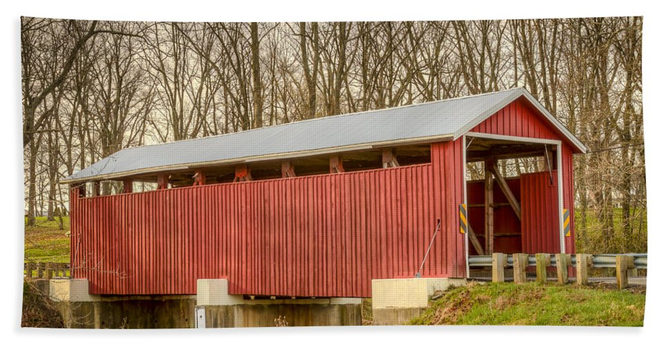 America Hand Towel featuring the photograph Martinsville Covered Bridge by Jack R Perry