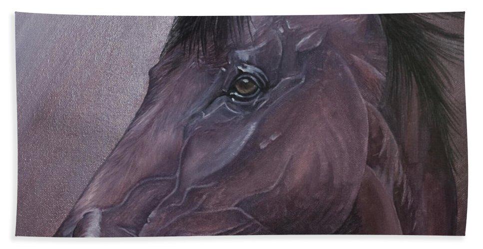 Horse Marwari Equine Purple Bath Sheet featuring the painting Marwari Purple by Pauline Sharp