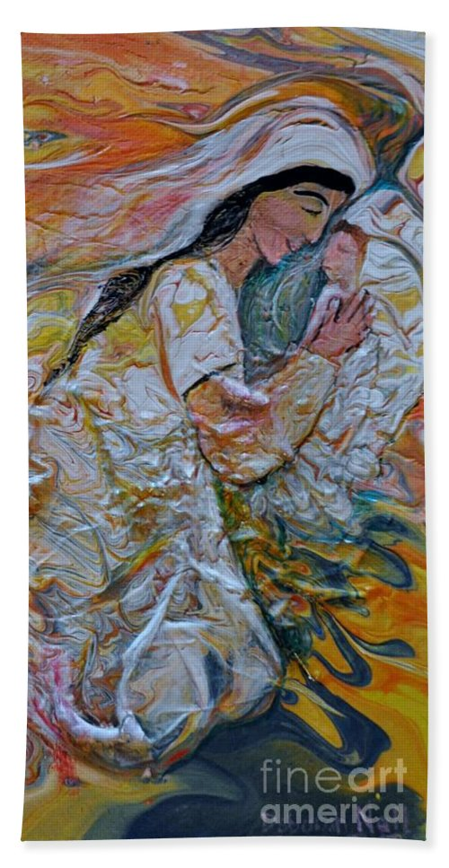 Mary Bath Sheet featuring the painting Mary Did You Know by Deborah Nell