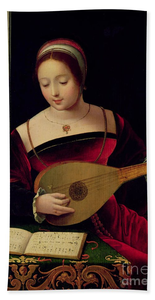Mary Hand Towel featuring the painting Mary Magdalene Playing The Lute by Master of the Female Half Lengths