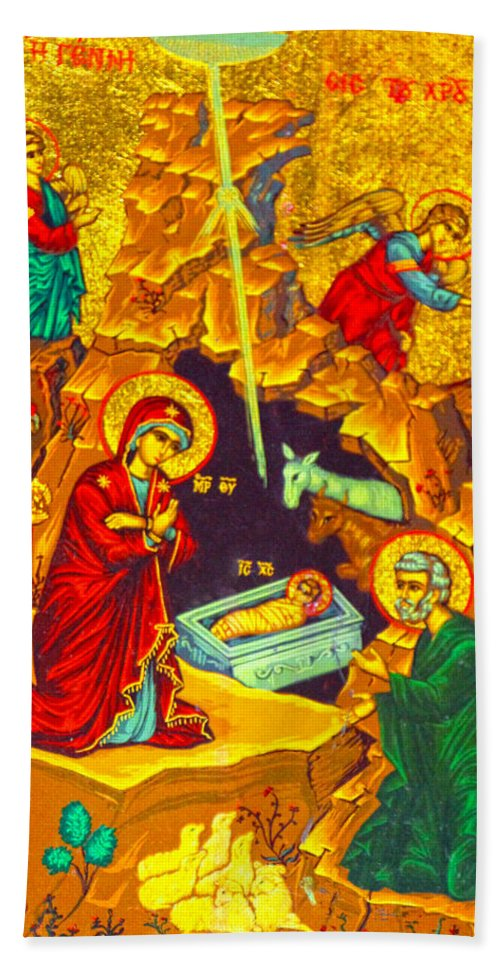 Mary's Well Bath Sheet featuring the photograph Mary Well Nativity by Munir Alawi
