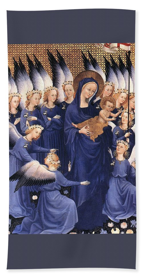 Paintings Hand Towel featuring the painting Mary With Baby Jesus by Munir Alawi
