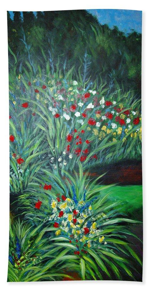 Landscape Bath Sheet featuring the painting Maryann's Garden 3 by Nancy Mueller