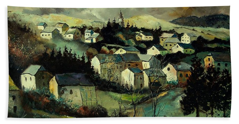 Winter Hand Towel featuring the painting Masbourg by Pol Ledent