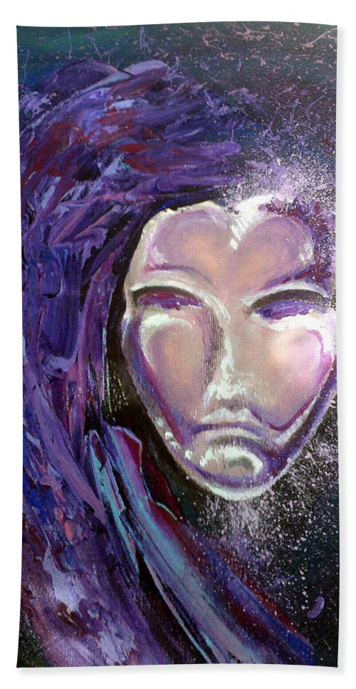 Mardi Gras Hand Towel featuring the painting Mask by Kevin Middleton