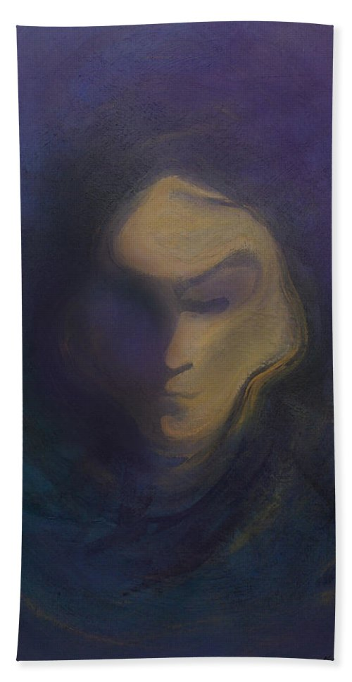 Mask Hand Towel featuring the painting Masked by Kevin Middleton