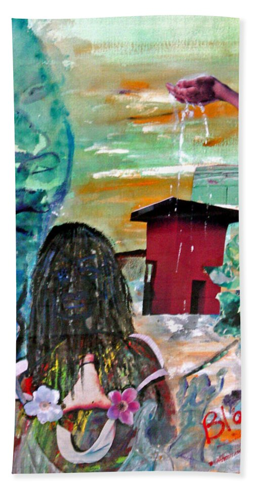 Water Bath Towel featuring the painting Masks Of Life by Peggy Blood