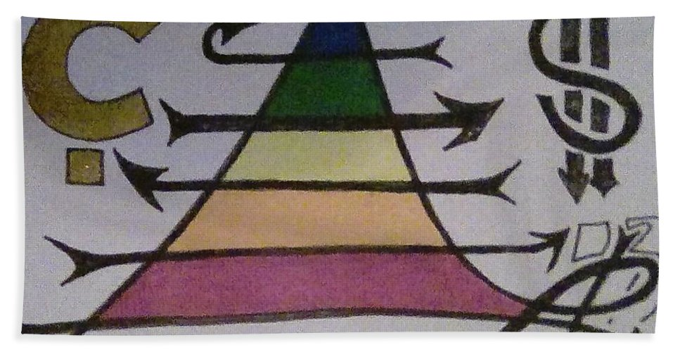 Maslow's Pyramid Hand Towel featuring the painting Maslow Cents by Trevor Desrosiers