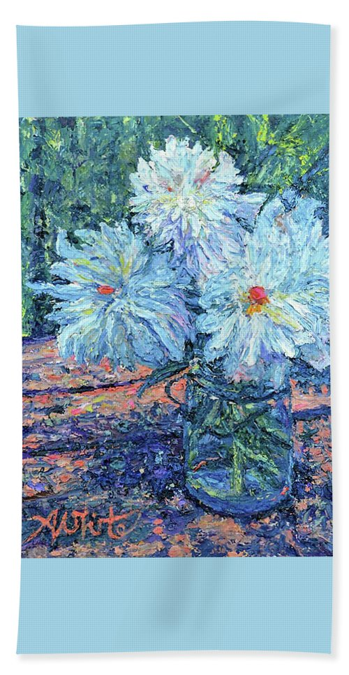 En Plein Air Hand Towel featuring the painting Mason Jar Blues by Amy White