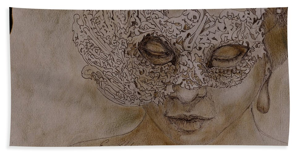 Mask Hand Towel featuring the drawing Masquerade by Portraits By NC