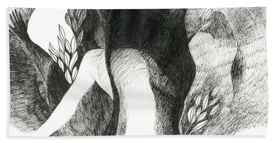 Moon Hand Towel featuring the drawing Masquerade by Helena Tiainen