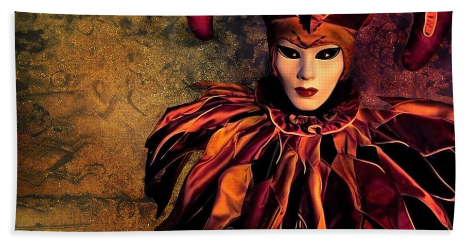 Mask Hand Towel featuring the photograph Masquerade by Jacky Gerritsen