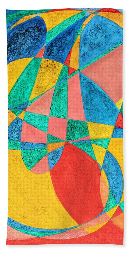 Abstract Bath Sheet featuring the painting Massage In Abstract Word Art by Lee Serenethos