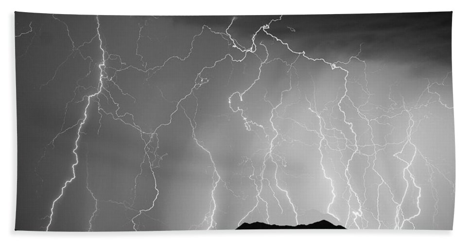 Lightning Hand Towel featuring the photograph Massive Monsoon Lightning Storm Bw by James BO Insogna