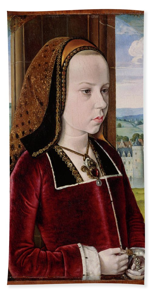 Margaret Of Austria Bath Sheet featuring the painting Master Of Moulins by Jean Hey