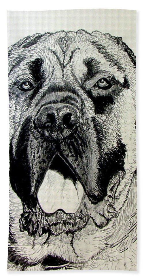 Mastiff Hand Towel featuring the drawing Mastiff by Stan Hamilton